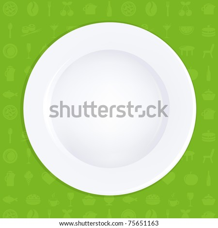White Plate On Green Background, Vector Illustration