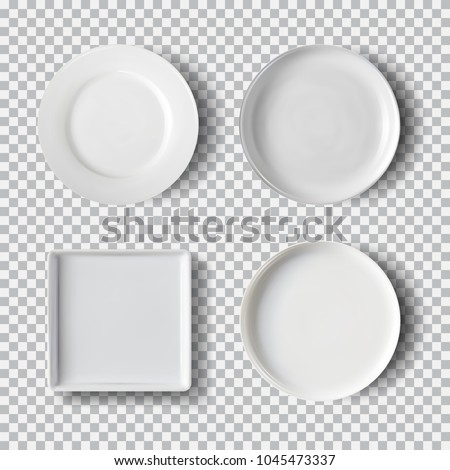 White plate set isolated on transparent background. Kitchen dishes, plate and dish clean for kitchen, porcelain dishware. Vector illustration for your product, food ads, tableware design element.