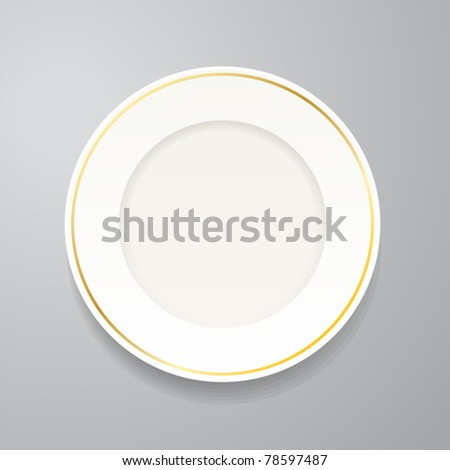 White plate with gold rim on grey - stock vector