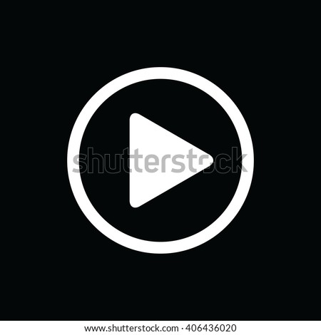 White play button vector icon. Black background