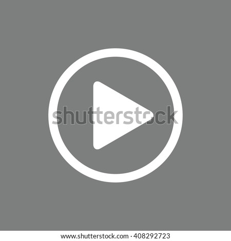 Shutterstock White play button vector icon. Gray background