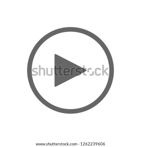 White play button vector icon. Gray element isolated on white background.
