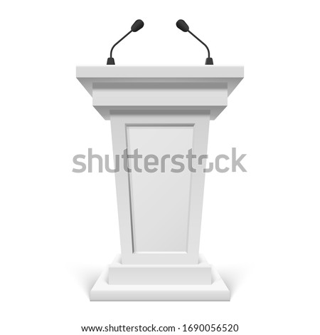 White podium with microphone or pulpit with mic, speech tribute or stand, rostrum. Conference stage speaker marble device. Press and debate, journalism and politics, public interview and media.