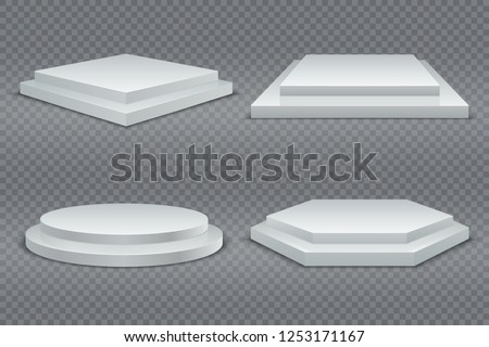 White podiums. Round and square 3d empty podium with steps. Showroom pedestals, floor stage platform vector isolated mockup