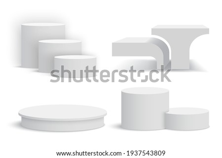 White podiums. Set of white pedestals. Vector illustration.