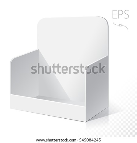 White POI Cardboard Blank Empty Displays With Shelves Products. On White Background Isolated. Mock Up Template Ready For Your Design.