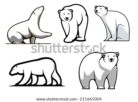 white polar bears set in