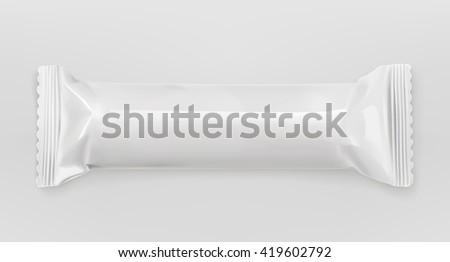 White polyethylene package, chocolate bar, vector mockup