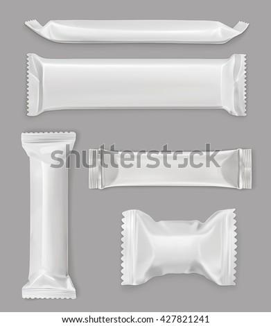 White polyethylene package, chocolate bar, vector mockup set