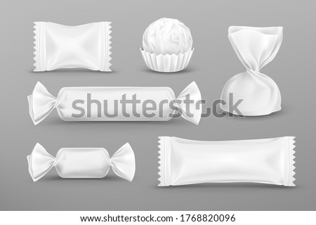 White polyethylene package for candies, chocolate, lollipops, truffle, food snacks and pouch sweets production. Vector mockup set of candy wrappers for brand ad design isolated on grey background. Foto stock ©