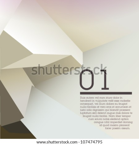 White polygonal design / abstract form suitable for infographics, book cover or web banner