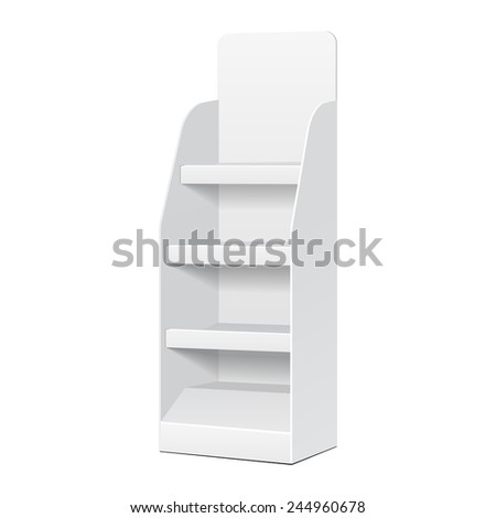 White POS POI Cardboard Blank Empty Displays With Shelves Products On White Background Isolated. Ready For Your Design. Product Packing. Vector EPS10