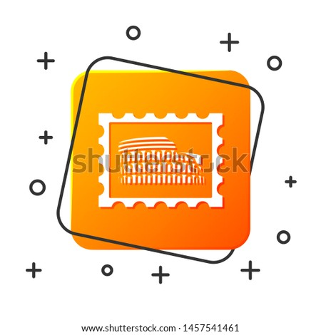 White Postal stamp and Coliseum icon isolated on white background. Colosseum sign. Symbol of Ancient Rome, gladiator fights. Orange square button. Vector Illustration
