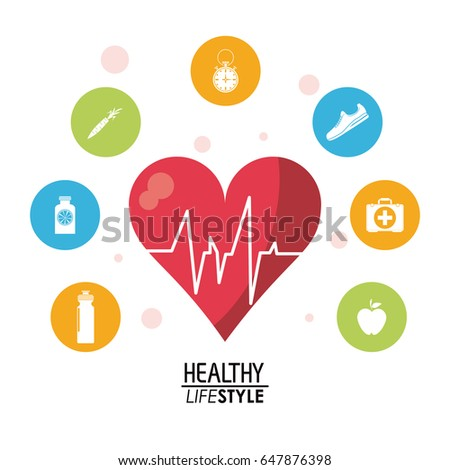 white poster with heartbeat rhythm with colorful circular frame with silhouette set of healthy lifestyle icons
