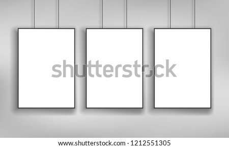 White posters with black frame a4 size mockup vector template on grey wall