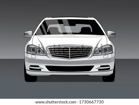 white premium sedan  front view