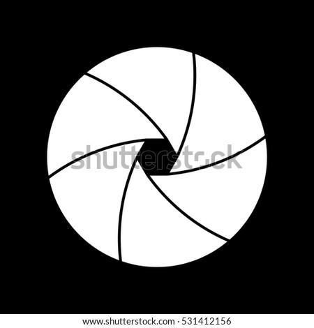 White prime lens on a black background. Vector eps10