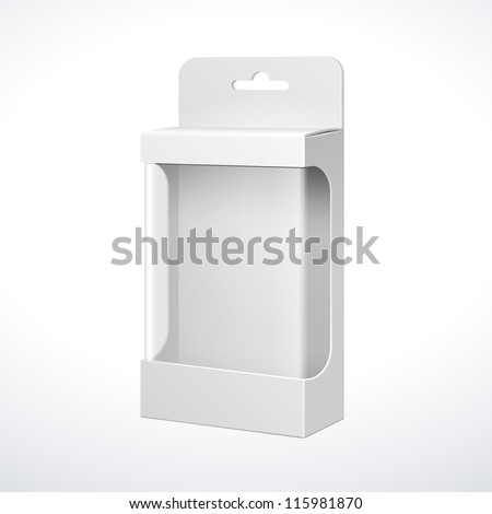 White Product Package Box With Window. Illustration Isolated On White Background. Ready For Your Design. Vector EPS10