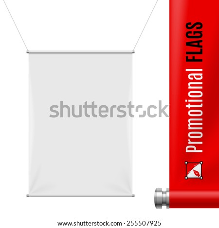 White promotional flag hanging on threads on a gray background