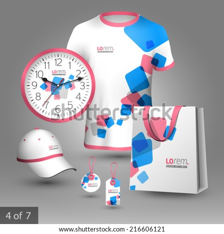 White promotional souvenirs design for company with blue and red square figures. Elements of stationery. ストックフォト ©
