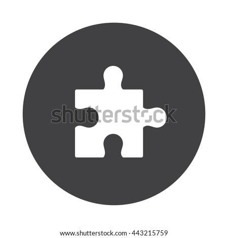 white puzzle icon on black