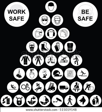 White pyramid construction manufacturing and engineering health and safety related cruciform icon collection isolated on black background with work safe be safe message