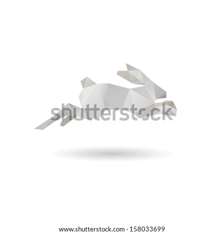 White rabbit abstract isolated on a white backgrounds, vector illustration