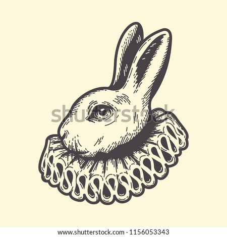 White Rabbit, dressed as herald, Alice's Adventures in Wonderland, vintage engraving style.