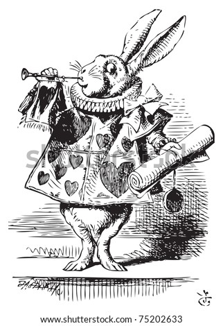 White Rabbit dressed as herald blowing trumpet Alice's Adventures in Wonderland original vintage engraving Near the King was the White Rabbit with a trumpet in one hand and a scroll of parchment