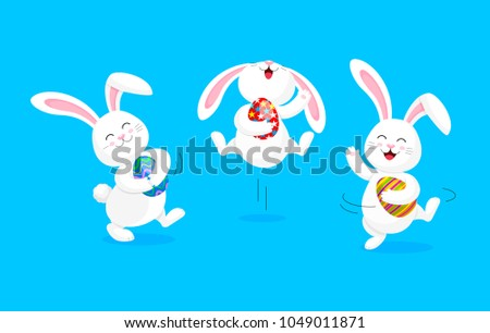 White rabbit holding Easter egg, jumping and dancing . Cute bunny. Happy Easter day, cartoon character design. Illustration isolated on blue background.
