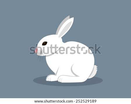 white rabbit in flat style