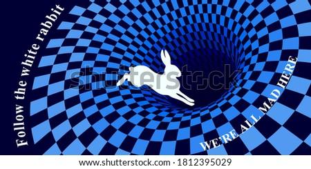 white rabbit runs and falls