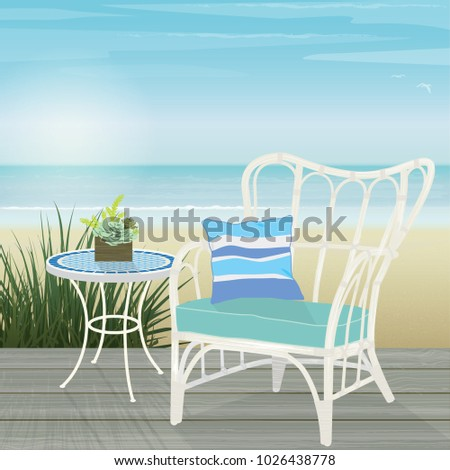 white rattan chair and mosaic