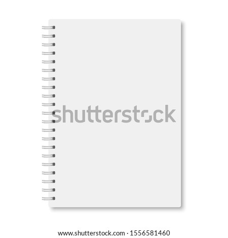 White realistic a5 notebook closed with soft shadows. Vector vertical blank copybook with metallic white spiral on white background. Mock up of organizer or diary isolated. Сток-фото ©