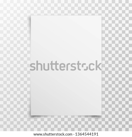 White realistic blank paper page with shadow isolated on transparent background. A4 size sheet paper. Mock up template for your design. Vector illustration