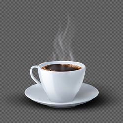 White realistic coffee cup with smoke isolated on transparent background