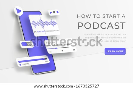 White realistic 3d smartphone. Webinar, online training, radio show or audio blog podcast concept. Mobile app infographic template with buttons and ui sliders. Interface for audio control illustratio