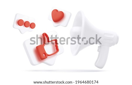 White realistic megaphone and 3d flying thumb up, heart and chat icons isolated on white background. Social media and digital marketing. Vector illustration