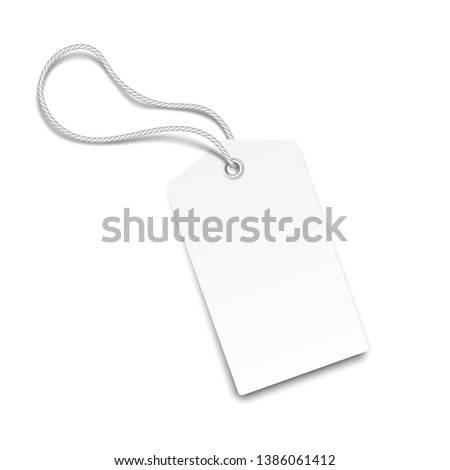 White Realistic Paper Tag. Vector Illustration.  #1386061412