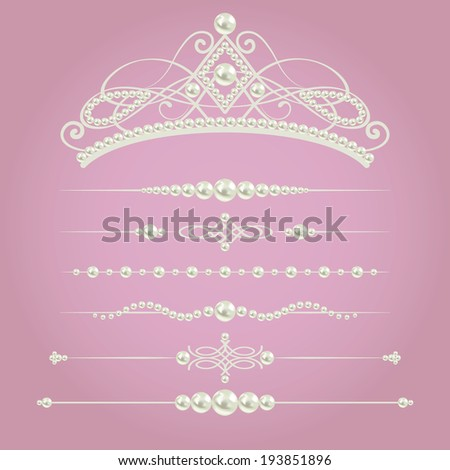 white realistic pearl dividers set collection with diadem isolated on purple pink background vector illustration design elements and page decor