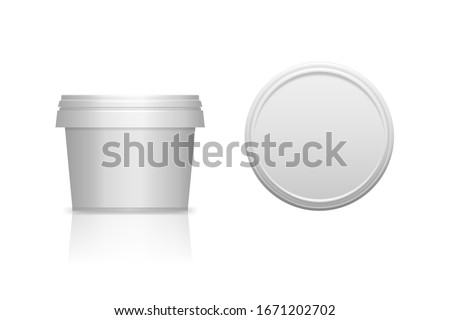 White realistic plastic cosmetic jar for body of face cream, scrub. Isolated vector illustration. Round bottle with cap. Front and top view of packaging mockup template. Stockfoto ©