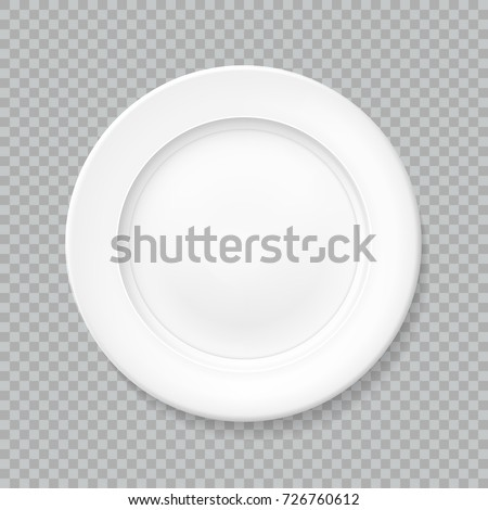 White realistic plate top view with shadow, isolated vector object on a transparent background. Empty dish for food. Kitchen dishware. Template for food presentation. Illustration for your projects.