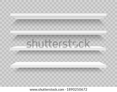 White realistic shelves. 3d empty store shelf. Wall showcases. Supermarket retail shelves. Plastic shelving. Mock up bookshelf front view. Stand of a store. Vector