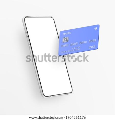 White realistic smartphone and plastic credit card. 3d mobile phone with blank white screen and bank card with chip. Vector template card for finance and cell phone on light background