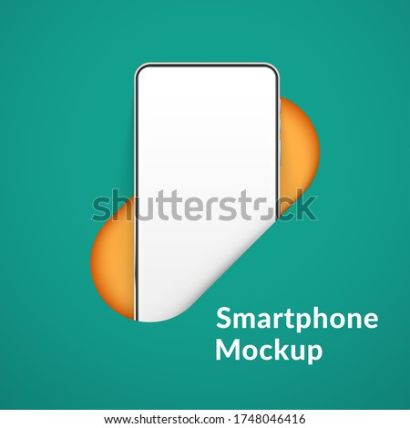 White realistic smartphone mockup in the hole. 3d vector mobile phone with blank white screen. Modern cell phone template on green background. Illustration of device 3d screen