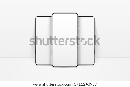 White realistic smartphones vector mockup. 3d mobile phones with blank white screen. Modern cell phones template on white background. Illustration of device 3d screen