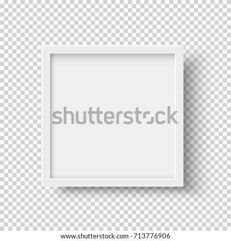 White realistic square empty picture frame on transparent background. Blank white picture frame mockup template isolated on neutral background. Vector illustration #713776906