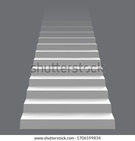 White realistic stair concept. Modern staircase, 3d architectural stairway. Career staircase ladder concept vector illustration. Stair interior, staircase up mockup Сток-фото ©