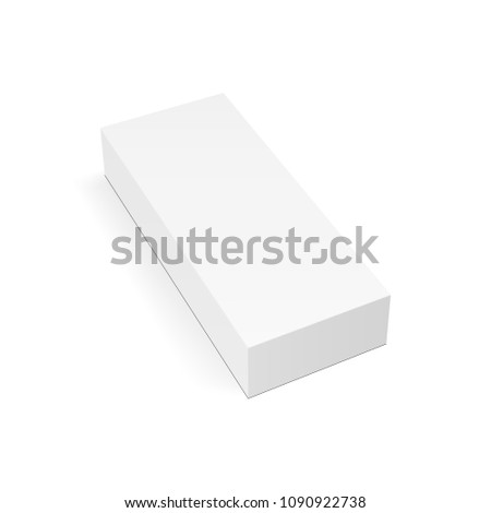 White rectangular package box mock up - high-angle view. Vector illustration