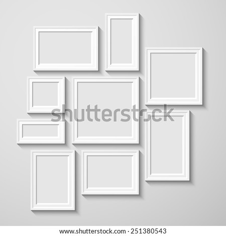 White rectangular photo frame with shadow on a wall.  Eps10 Vector illustration for your design.